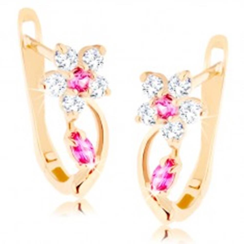 Šperky eshop Náušnice v žltom 14K zlate - ligotavý kvietok z čírych a ružových zirkónov