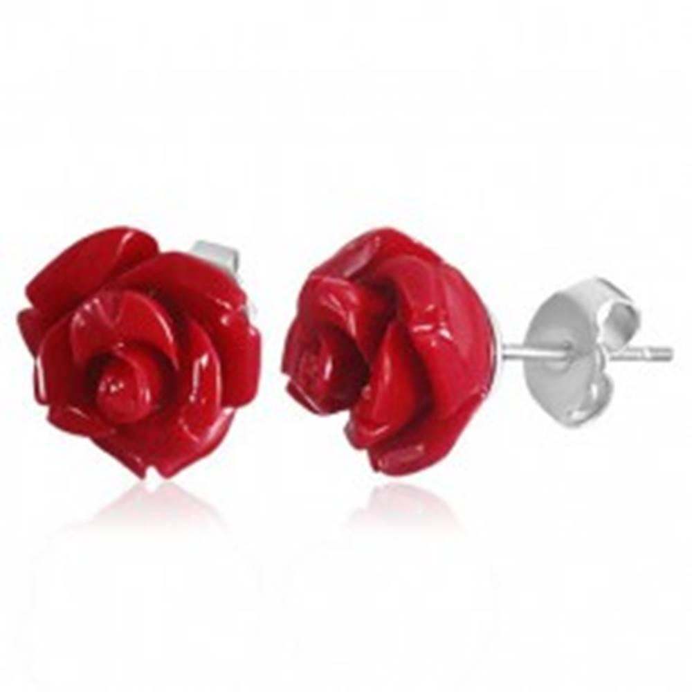 Šperky eshop Náušnice z chirurgickej ocele, koralovo červená rozkvitnutá ružička z akrylu