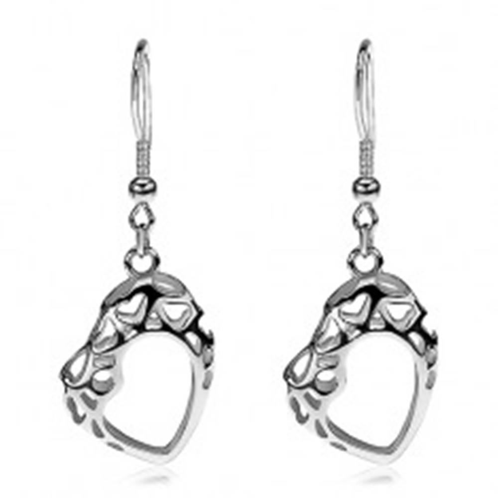 Šperky eshop Náušnice z chirurgickej ocele, obrys asymetrického srdca s výrezmi