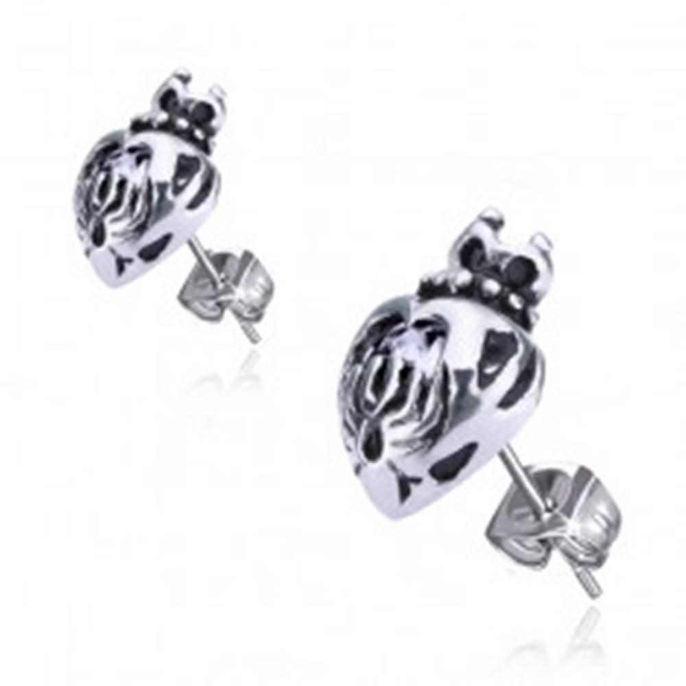 Šperky eshop Náušnice z chirurgickej ocele - srdce s korunkou, zirkón