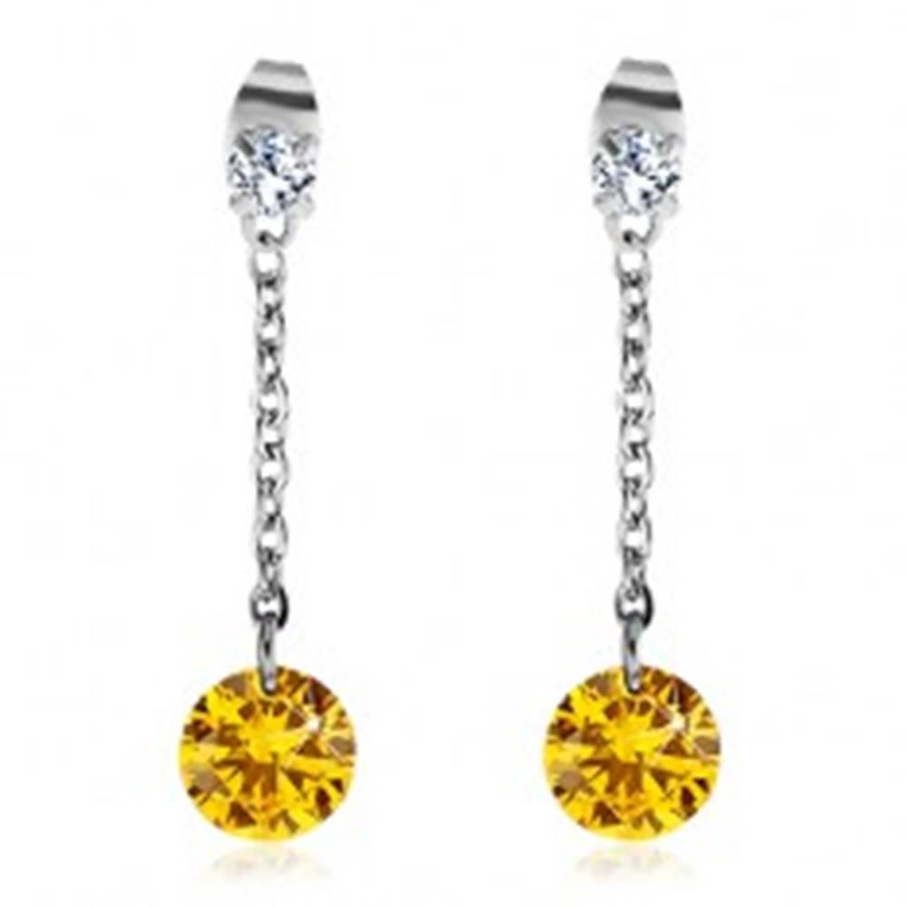 Šperky eshop Náušnice z chirurgickej ocele, veľký žltý a menší číry zirkón, retiazka