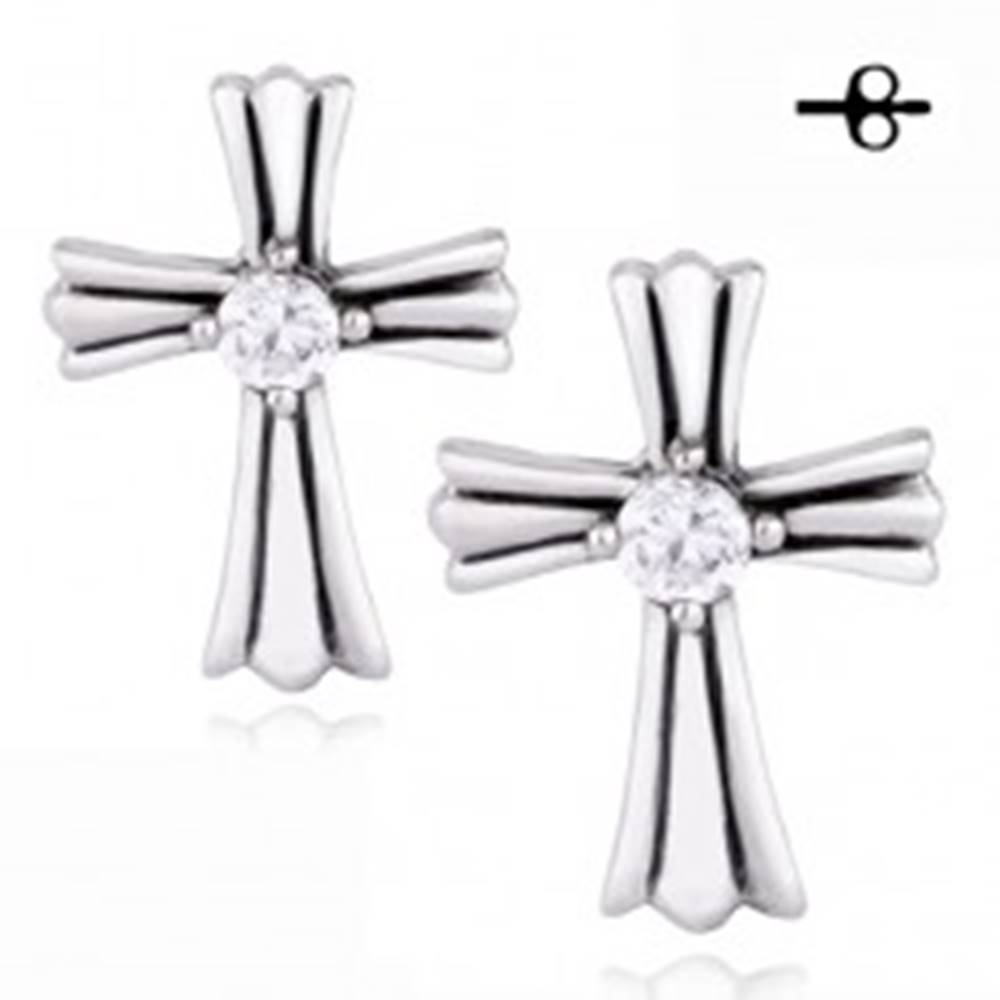 Šperky eshop Náušnice z chirurgickej ocele - zdobený kríž, okrúhly zirkón