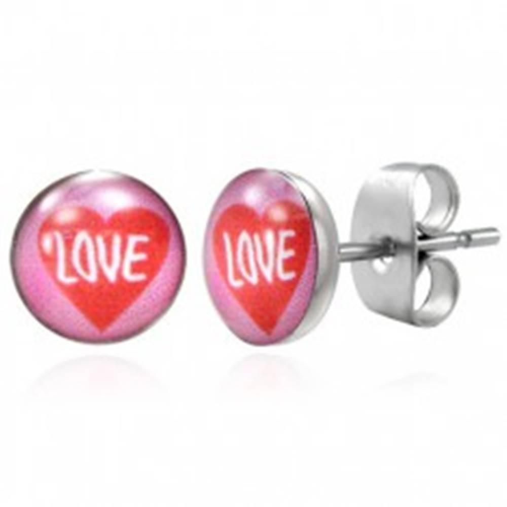 Šperky eshop Náušnice z ocele červené srdce LOVE