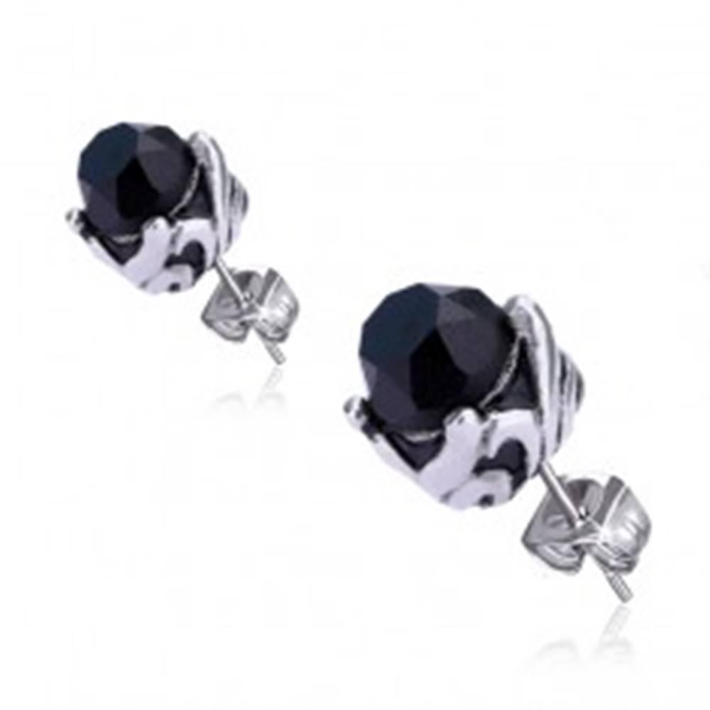 Šperky eshop Náušnice z ocele - čierny kameň v ozdobnej objímke