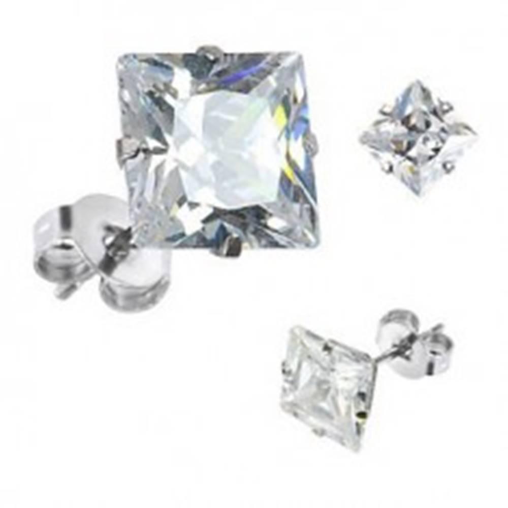 Šperky eshop Náušnice zo striebra 925, číry štvorec zo zirkónu, brúsený povrch, 8 mm
