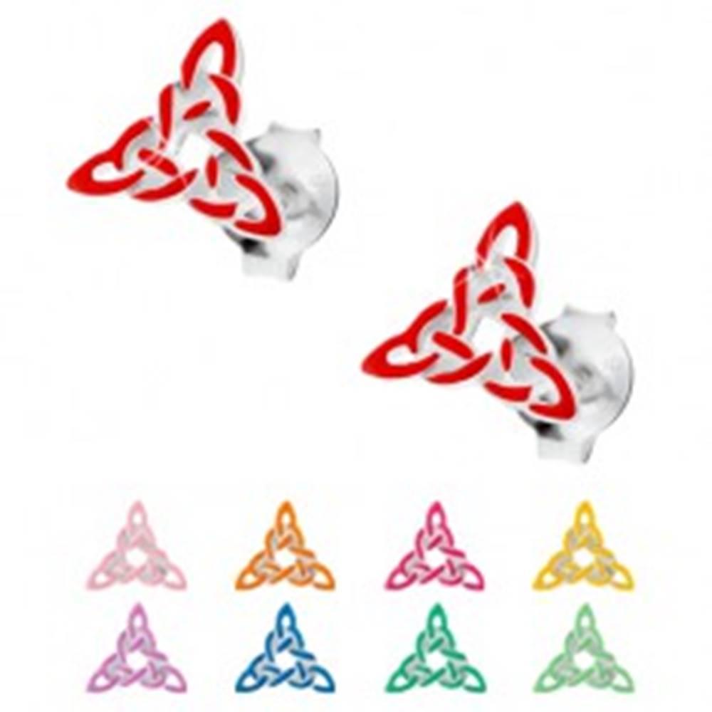 Šperky eshop Náušnice zo striebra 925, keltský trojcípy uzol zdobený farebnou glazúrou - Farba: Červená