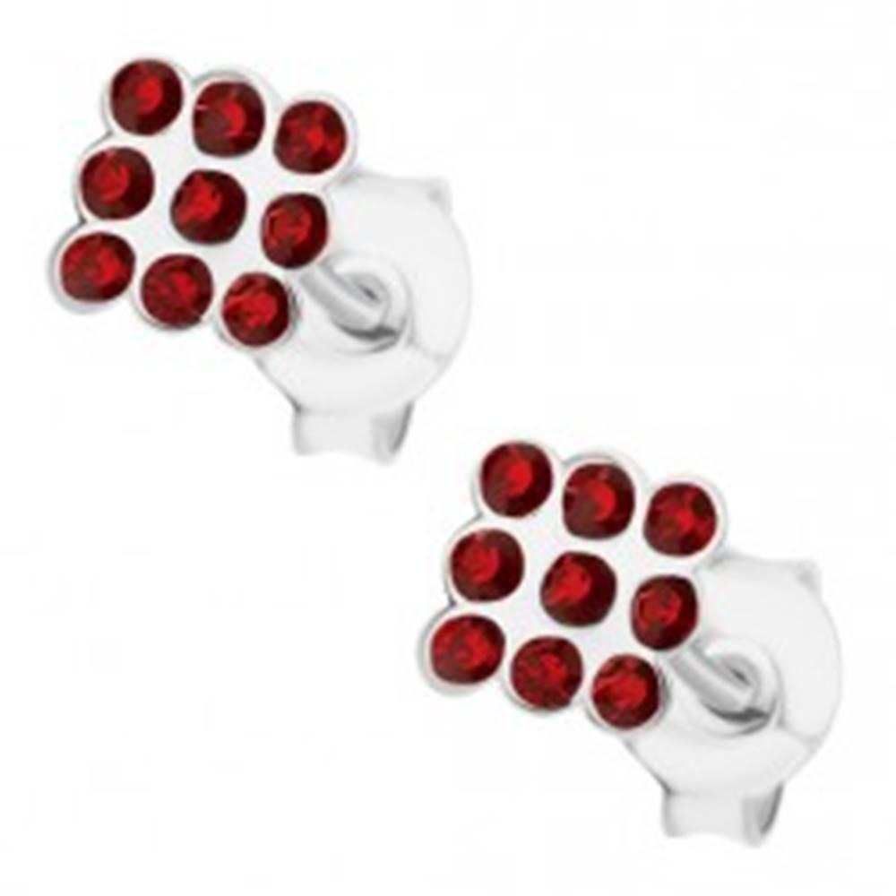 Šperky eshop Náušnice zo striebra 925, štvorček z bordových krištálikov Swarovski