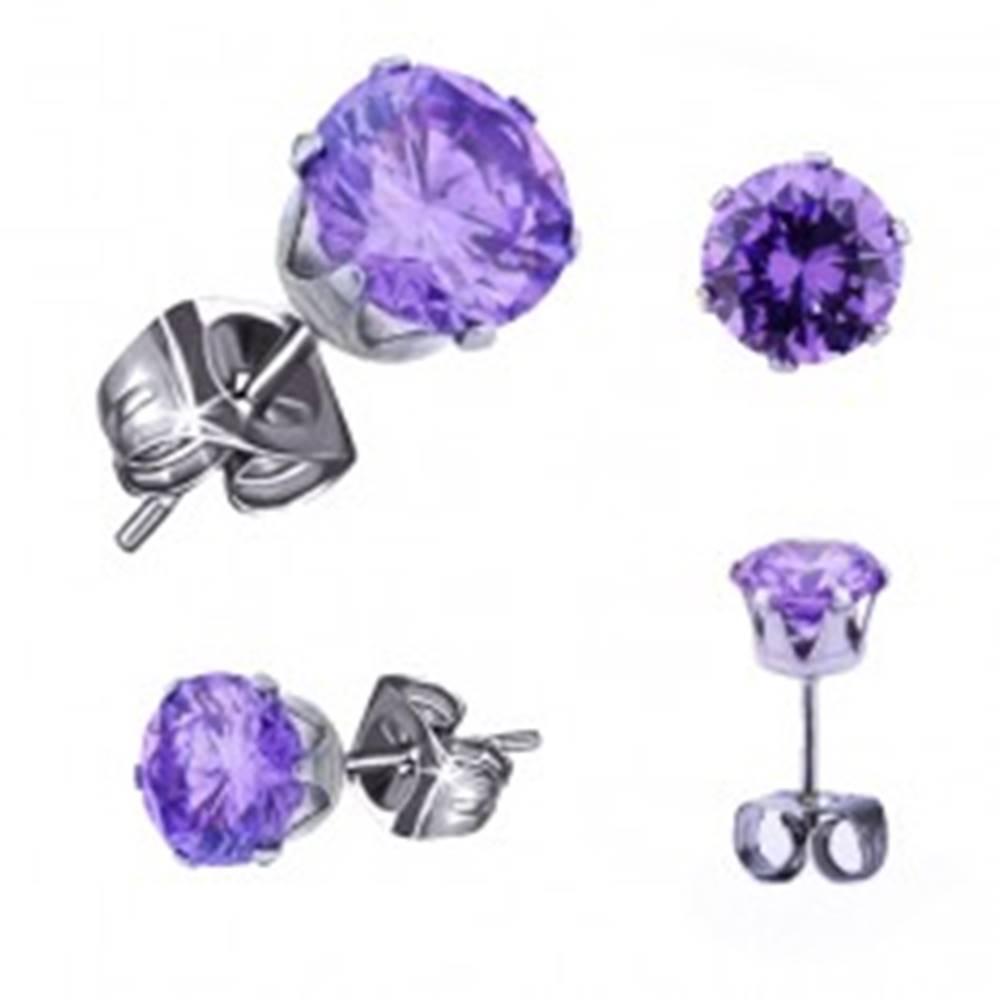 Šperky eshop Oceľové náušnice - okrúhly zirkón tanzanitovej farby, puzetky - Veľkosť zirkónu: 3 mm