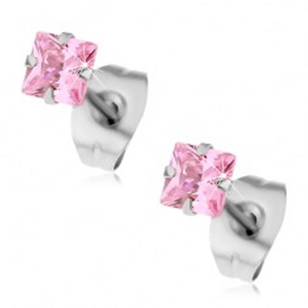 Šperky eshop Oceľové náušnice - puzetky so štvorcovým zirkónom