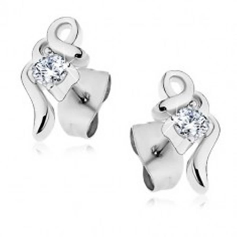 Šperky eshop Oceľové náušnice v striebornom odtieni, lesklé zatočené línie so zirkónom