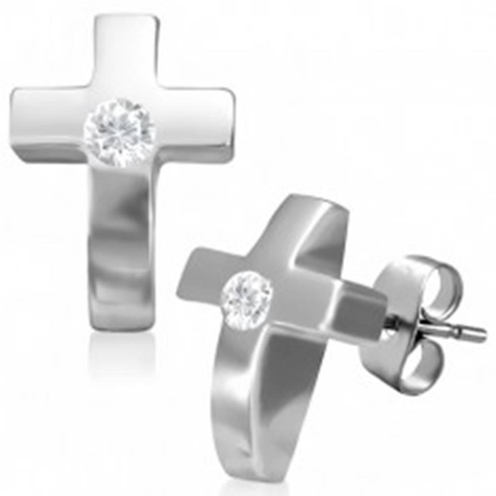 Šperky eshop Oceľové náušnice v tvare krížika so zirkónom