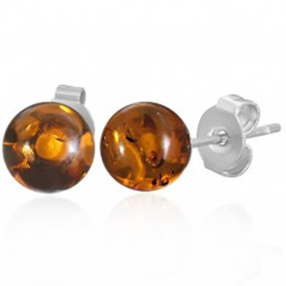 Šperky eshop Oceľové puzetové náušnice - priehľadné oranžové guličky