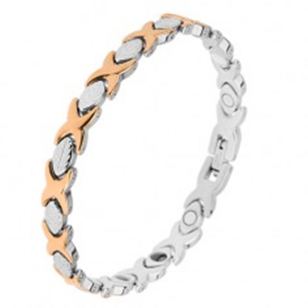 """Šperky eshop Oceľový náramok striebornej a zlatej farby, články """"X"""", lístky, magnety"""