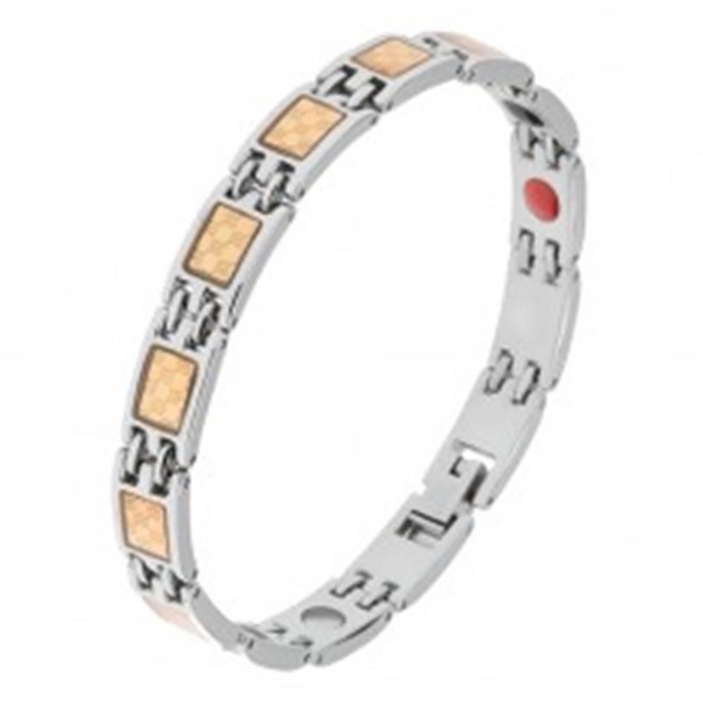 Šperky eshop Oceľový náramok striebornej a zlatej farby, šachovnicový vzor, magnety