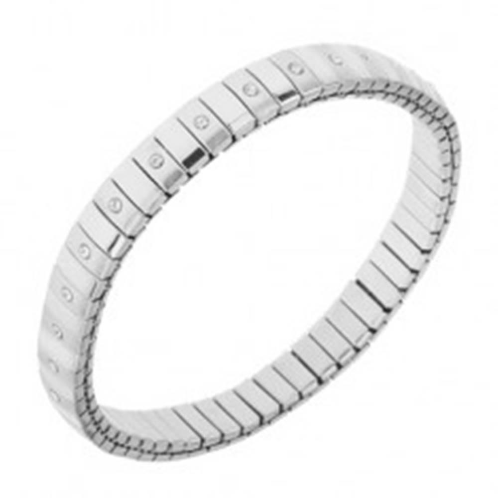Šperky eshop Oceľový náramok striebornej farby, strečový, lesklé a matné prúžky, zirkóny