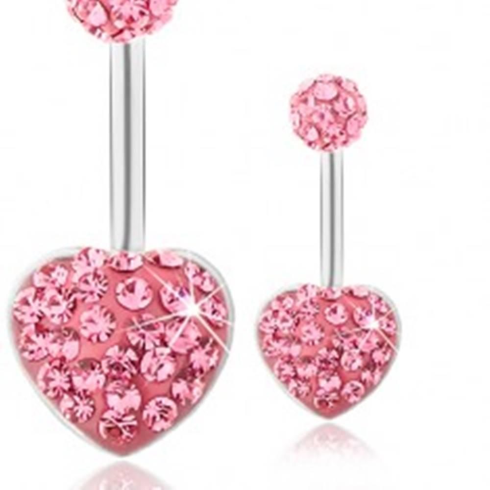 Šperky eshop Oceľový piercing do brucha, gulička a srdce, tmavoružové trblietavé zirkóny