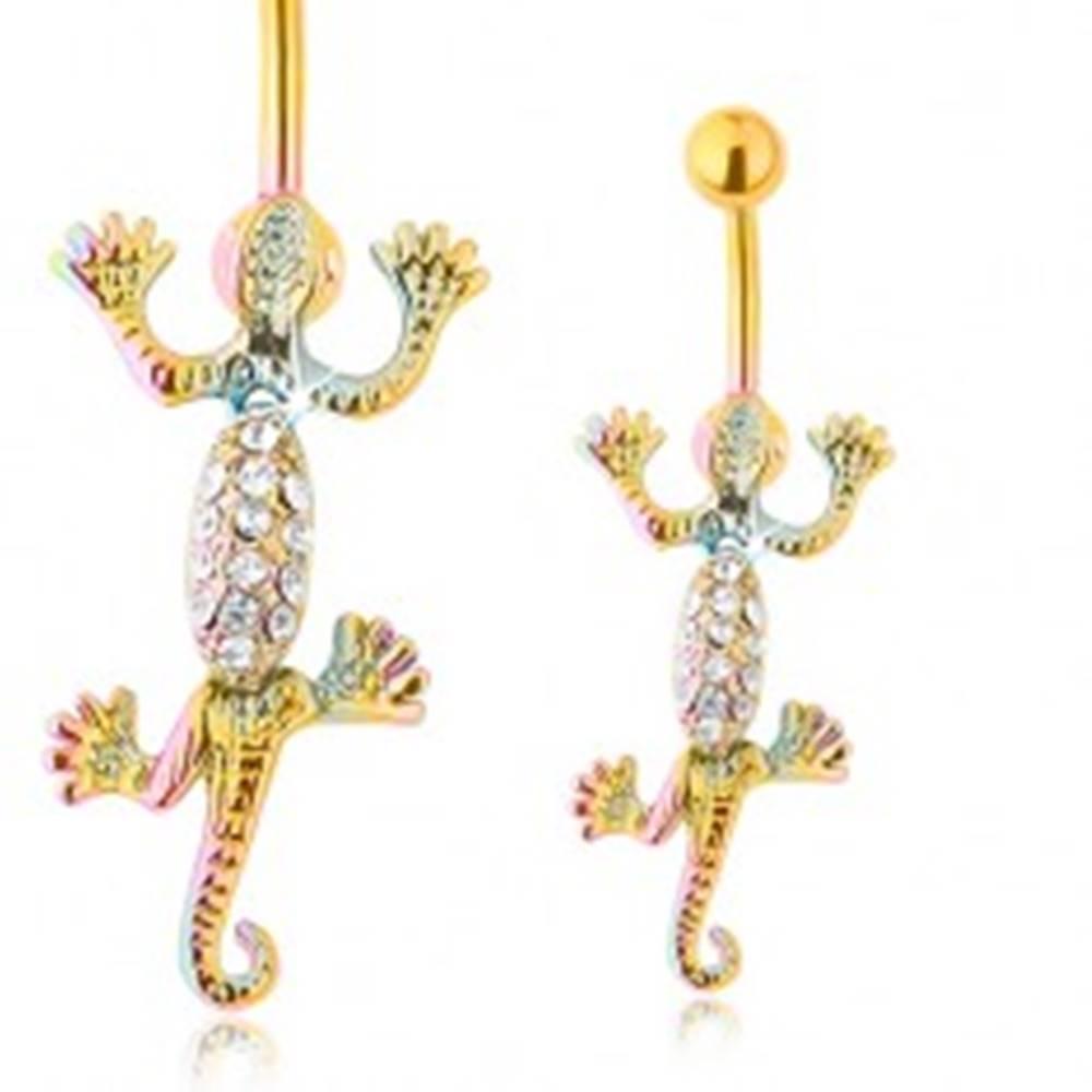 Šperky eshop Oceľový piercing do brucha, pohyblivá jašterica v dúhových farbách, číre zirkóny
