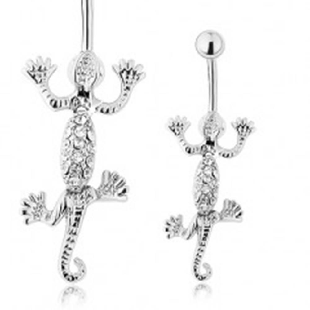 Šperky eshop Oceľový piercing do pupka, pohyblivá jašterička striebornej farby, číre zirkóniky