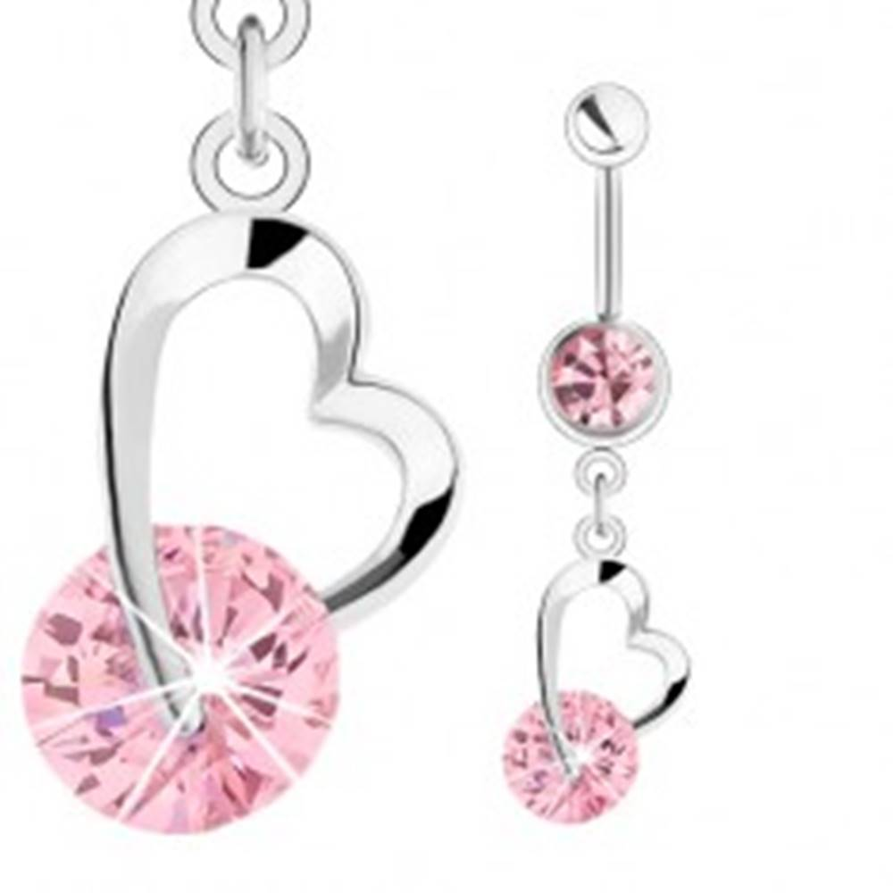 Šperky eshop Oceľový piercing do pupka, strieborná farba, ružové zirkóny, kontúra srdiečka