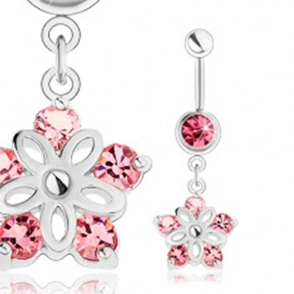 Šperky eshop Oceľový piercing do pupka, strieborný odtieň, ligotavý kvietok, ružové zirkóny