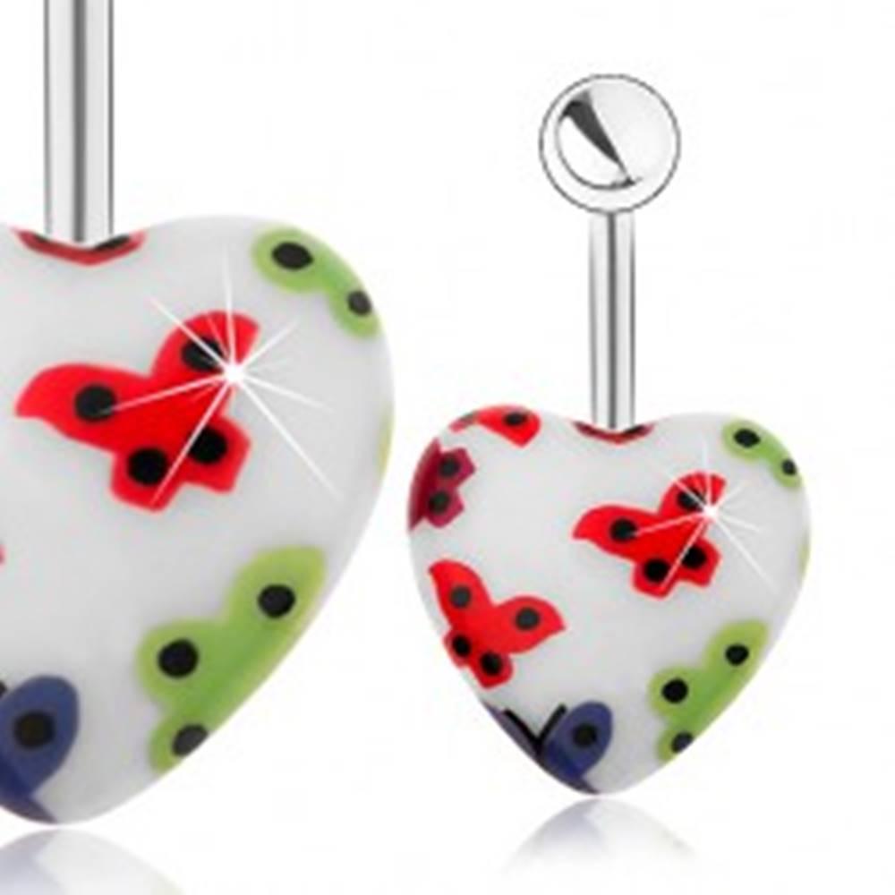 Šperky eshop Oceľový piercing do pupku, akrylové srdce - biely podklad, farebné motýliky