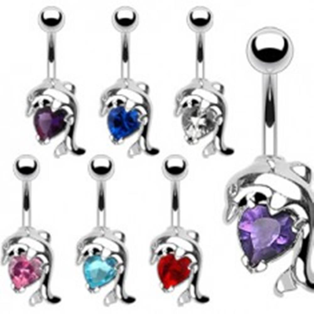 Šperky eshop Oceľový piercing do pupku - delfín a zirkónové srdce - Farba zirkónu: Aqua modrá - Q