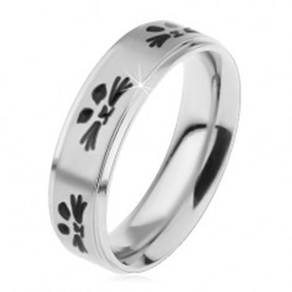Šperky eshop Oceľový prsteň pre deti, strieborný odtieň, tváre mačičiek čiernej farby - Veľkosť: 44 mm