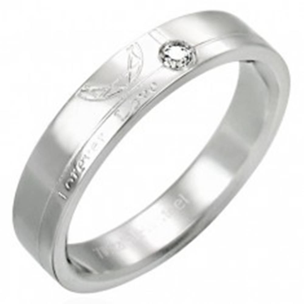 Šperky eshop Oceľový prsteň so zirkónom - Forever Love - Veľkosť: 51 mm