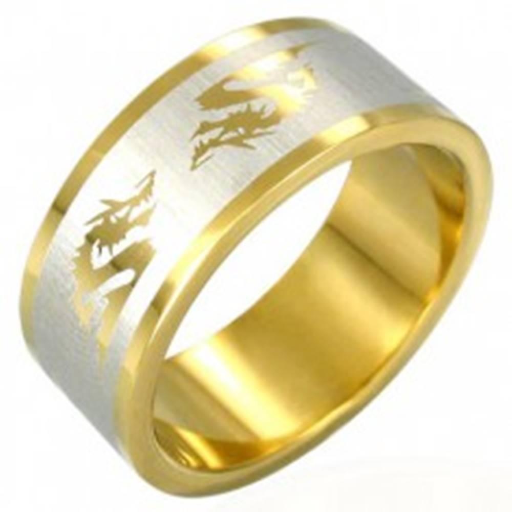 Šperky eshop Oceľový prsteň v zlatej farbe čínsky drak - Veľkosť: 53 mm