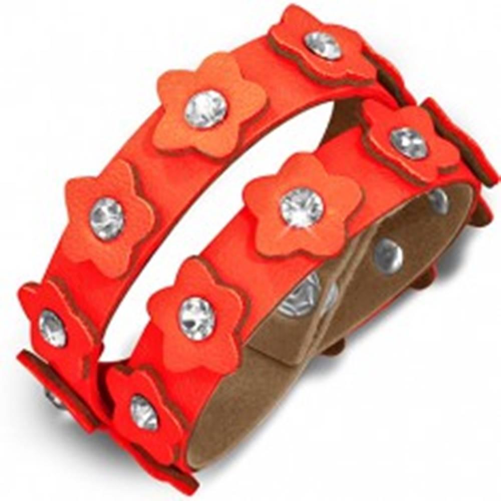Šperky eshop Oranžový kožený náramok - pás s kvietkami a zirkónmi