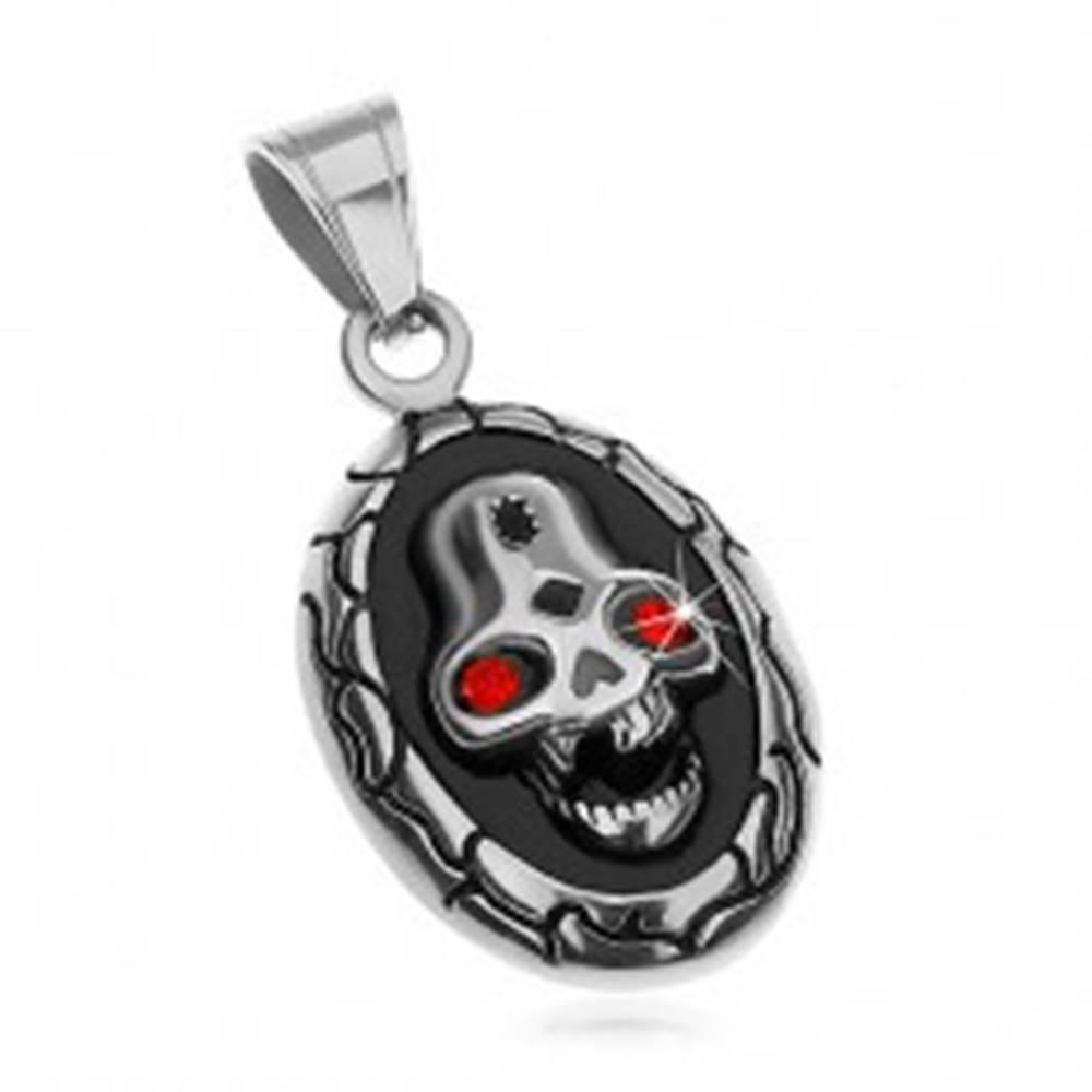 Šperky eshop Oválny prívesok z ocele 316L, lebka s červenými očami a vybitým zubom