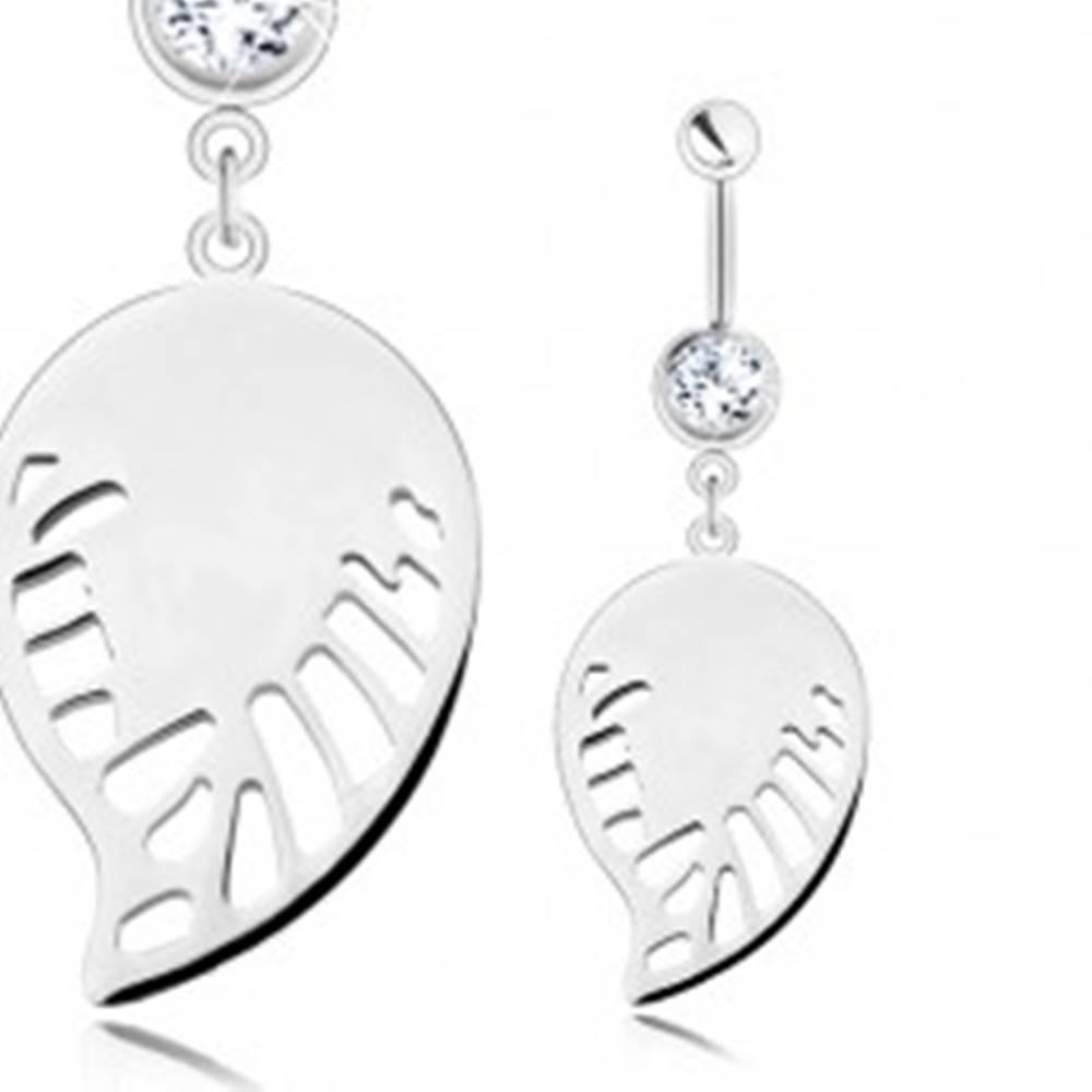 Šperky eshop Piercing - chirurgická oceľ, strieborný odtieň, prívesok - lesklé krídlo s výrezmi