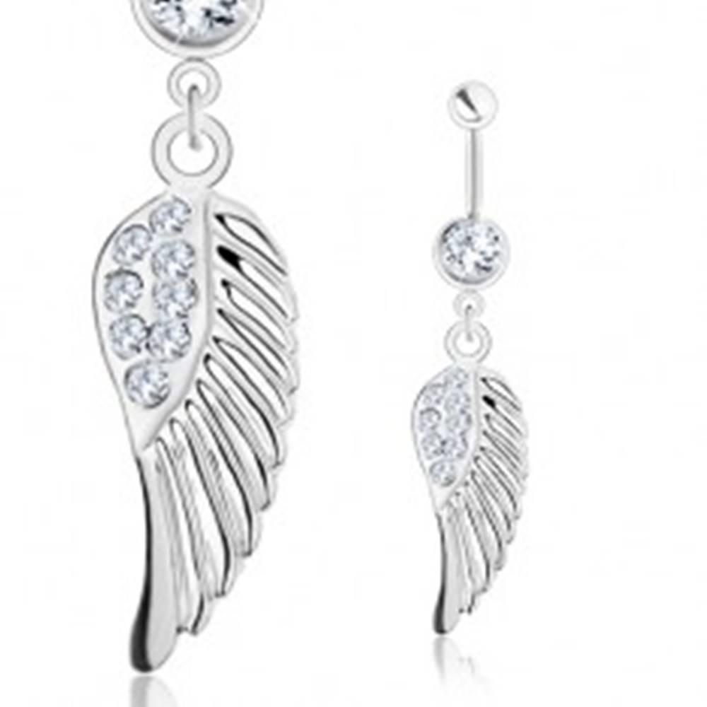 Šperky eshop Piercing do brucha - oceľ 316L, anjelské krídlo s čírymi zirkónikmi, strieborný odtieň