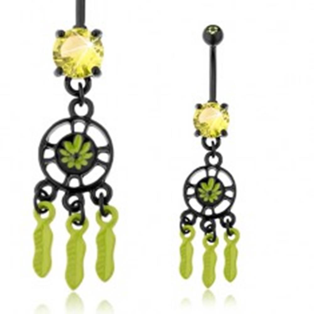 Šperky eshop Piercing do bruška, chirurgická oceľ, lapač snov, čierna a zelená farba, zirkóny