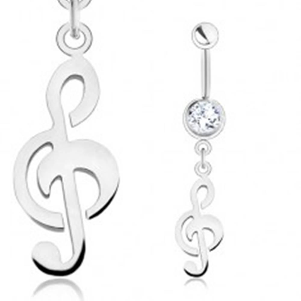 Šperky eshop Piercing do bruška, chirurgická oceľ, strieborná farba, číry zirkón, husľový kľúč