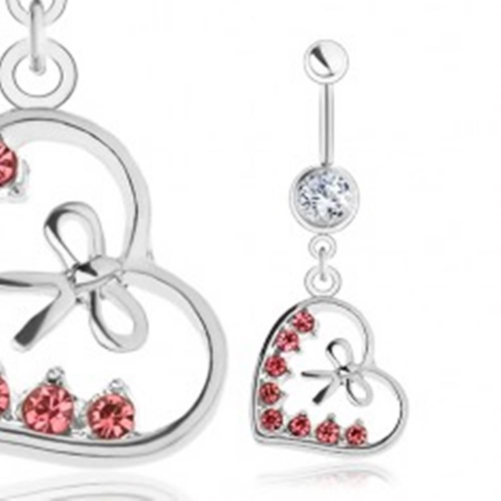 Šperky eshop Piercing do bruška, oceľ 316L, kontúra srdiečka, mašľa, ružové zirkóny