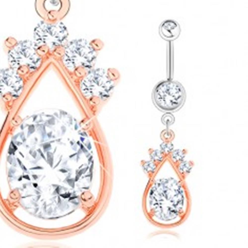 Šperky eshop Piercing do bruška, oceľ 316L, strieborná a medená farba, kvapka, číre zirkóny