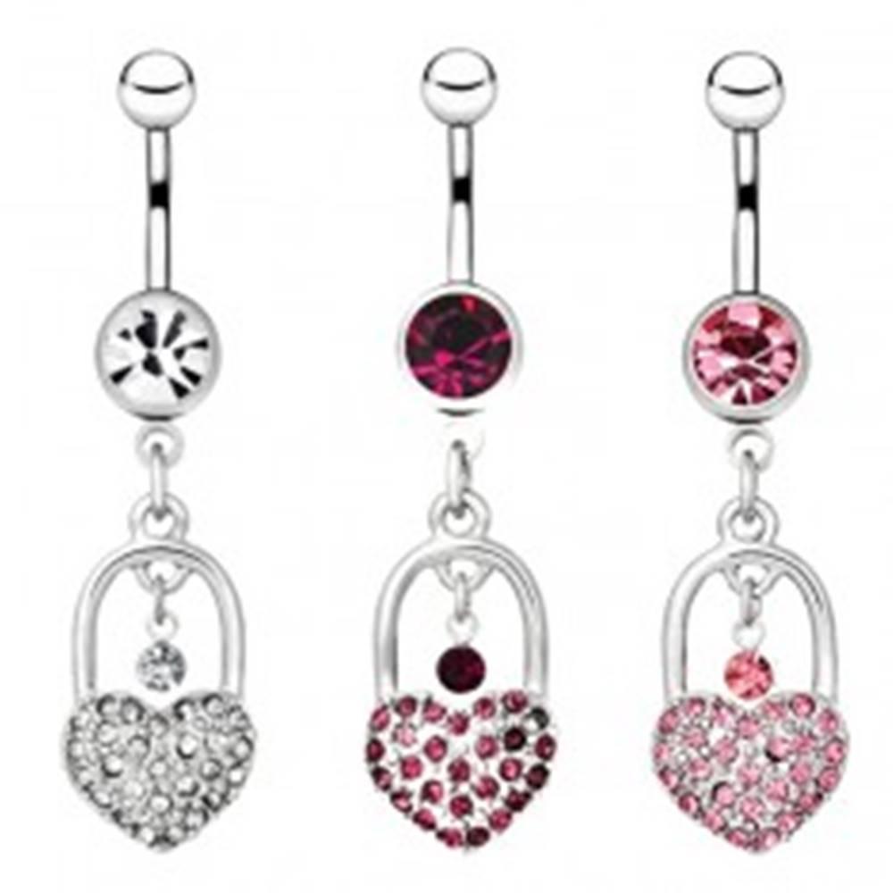 Šperky eshop Piercing do bruška z ocele - trblietavá srdcová zámka, visiaci zirkón - Farba zirkónu: Číra - C