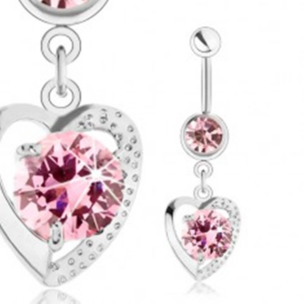 Šperky eshop Piercing do pupka, chirurgická oceľ, lesklá kontúra srdiečka, ružové zirkóny