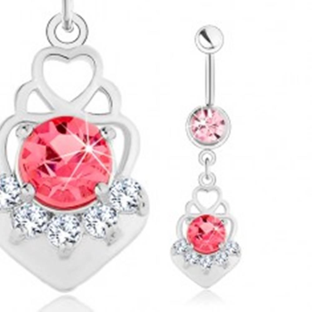Šperky eshop Piercing do pupka, oceľ 316L, ružový zirkón, srdcové obrysy, číre zirkóniky