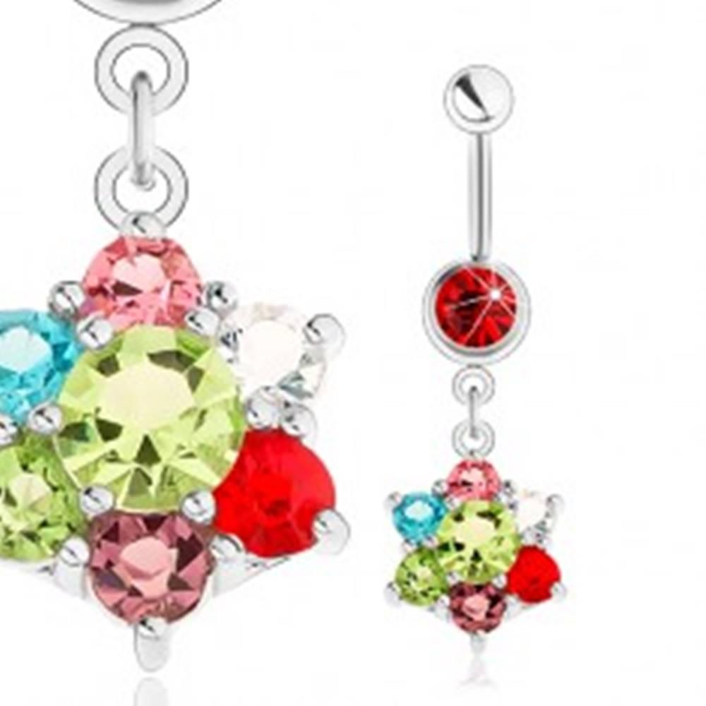 Šperky eshop Piercing do pupka, oceľ 316L striebornej farby, rôznofarebný zirkónový kvet