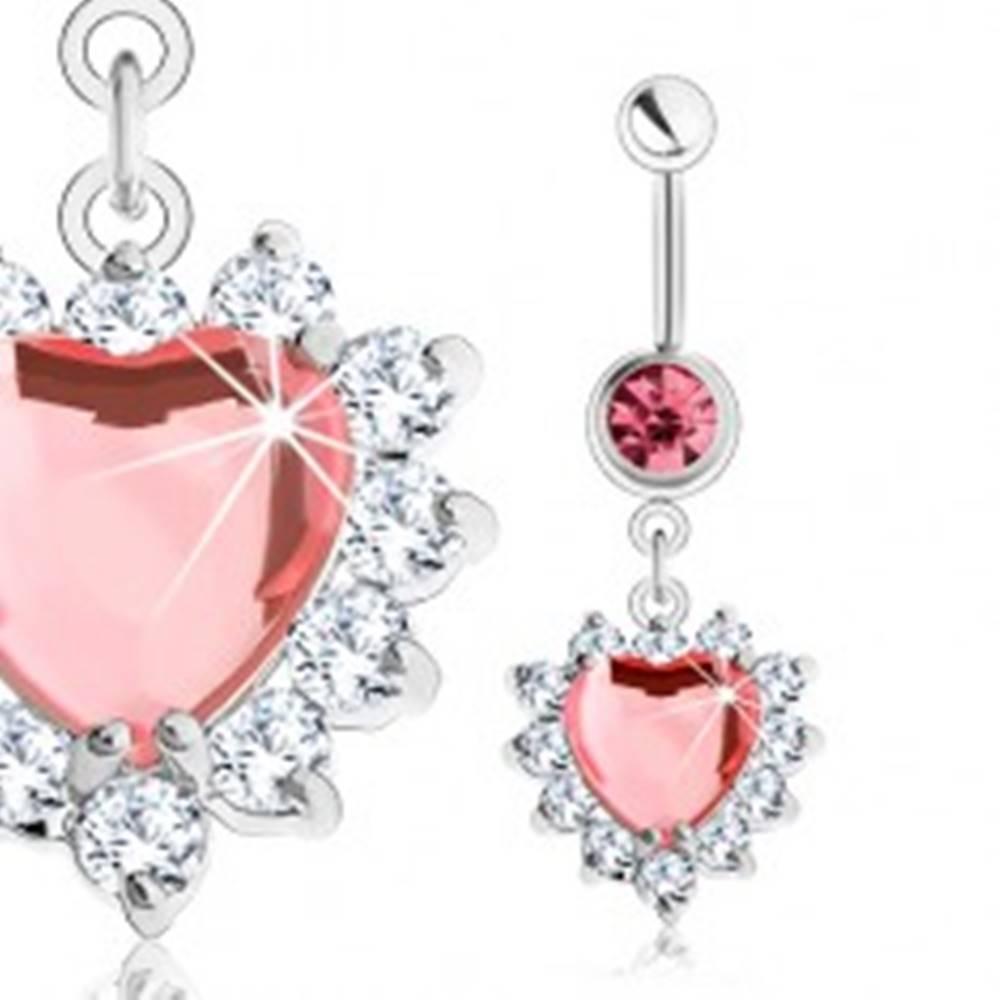Šperky eshop Piercing do pupka z ocele 316L, ružové zirkónové srdce, číry ligotavý lem