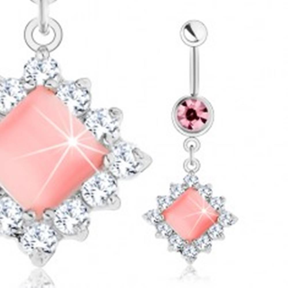 Šperky eshop Piercing do pupka z ocele 316L, strieborný odtieň, ružový štvorec, číre zirkóny