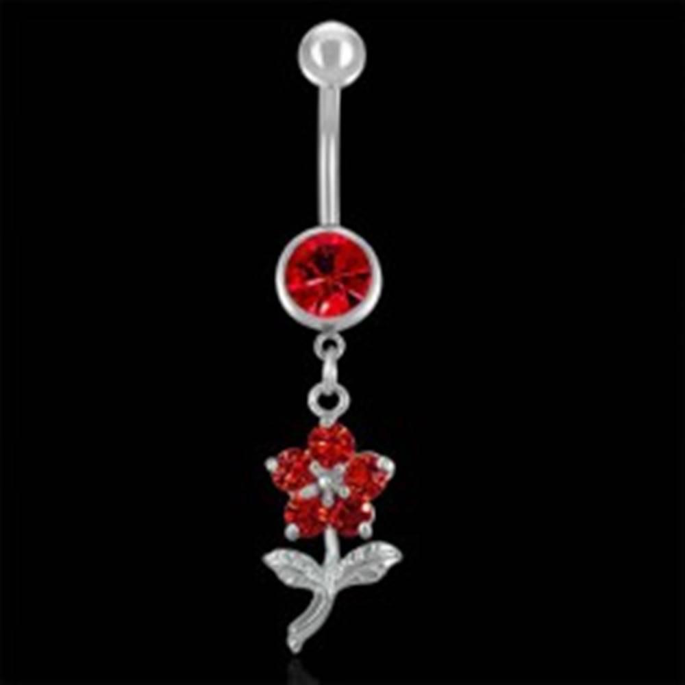 Šperky eshop Piercing do pupku červený kvet