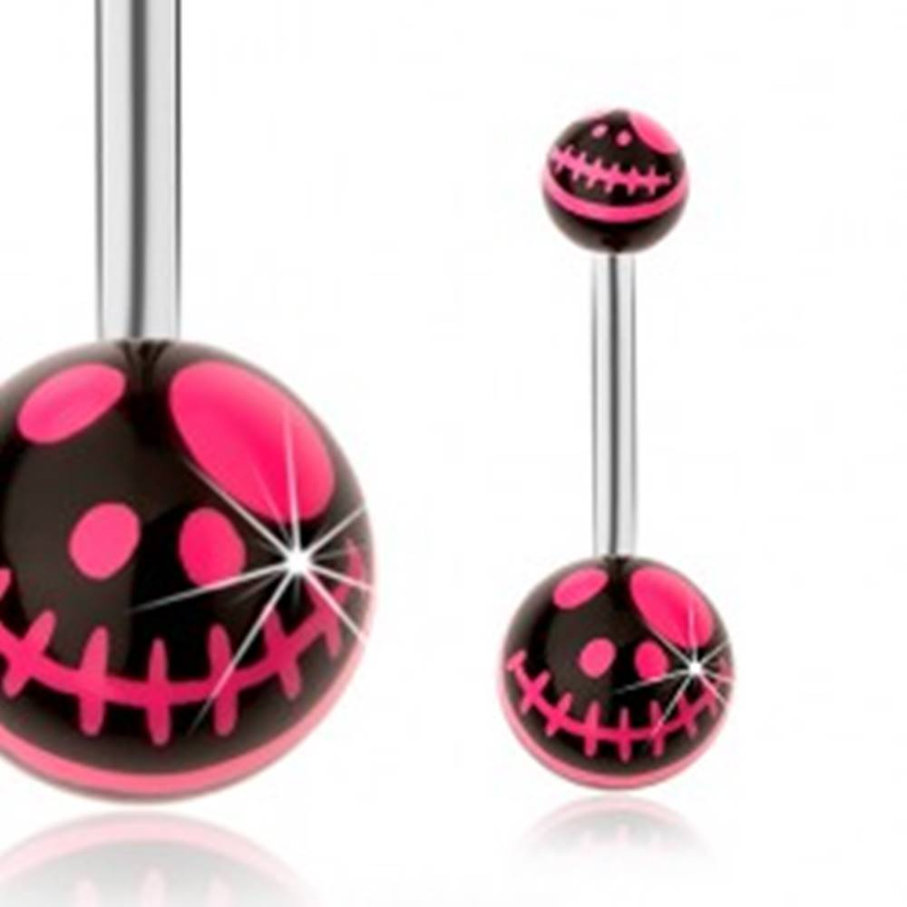Šperky eshop Piercing do pupku, oceľ 316L, čierna a neónovo ružová farba, kreslená lebka