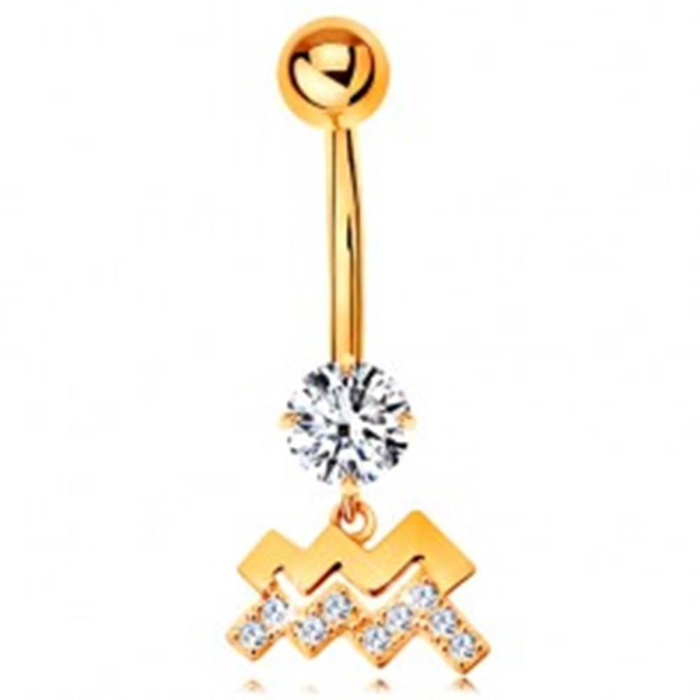 Šperky eshop Piercing do pupku v žltom 14K zlate - číry zirkón, symbol znamenia VODNÁR