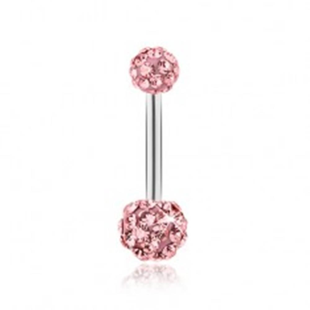 Šperky eshop Piercing z chirurgickej ocele, ružové guličky vykladané ligotavými zirkónmi