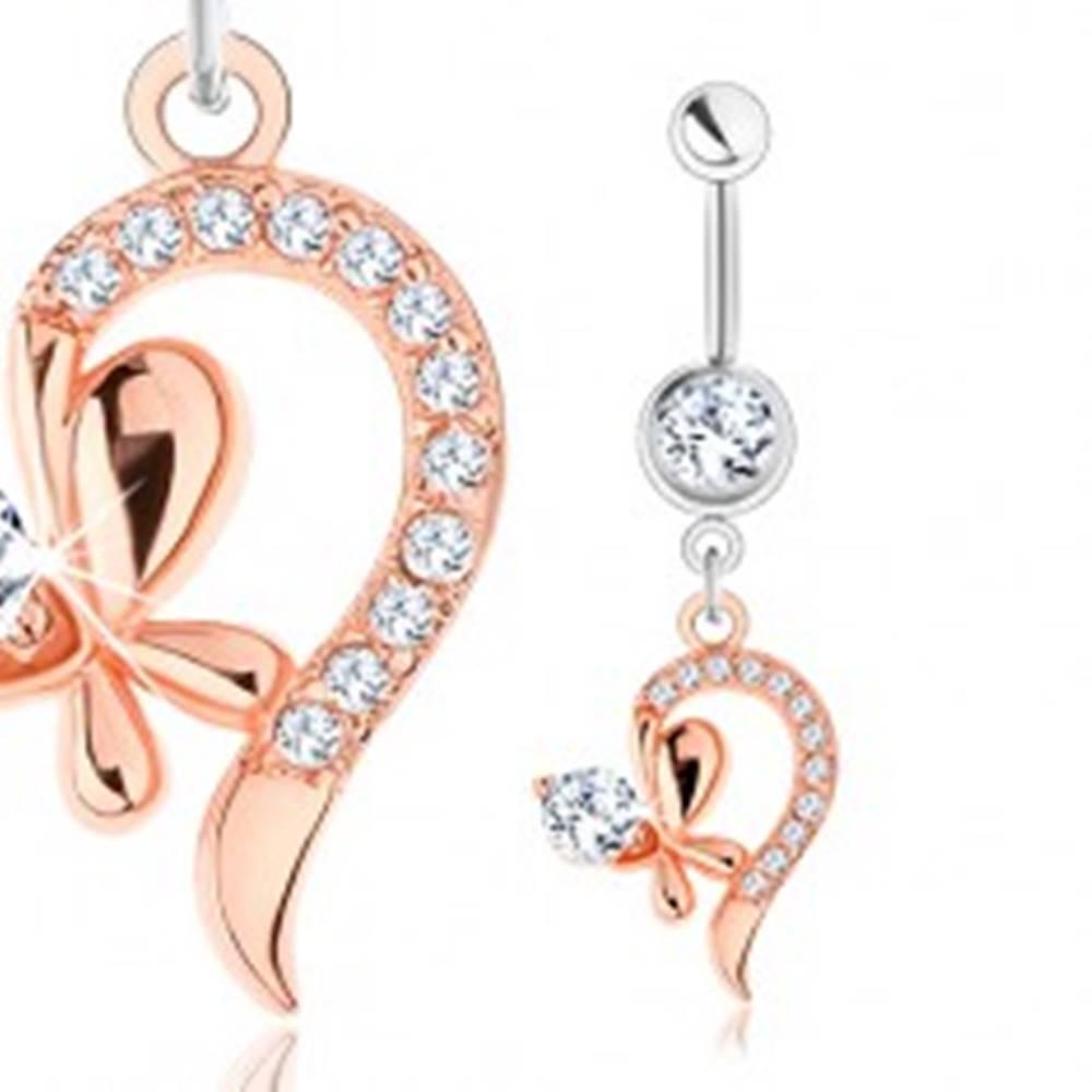 Šperky eshop Piercing z ocele 316L, medená a strieborná farba, zatočená línia, motýlik, číre zirkóny