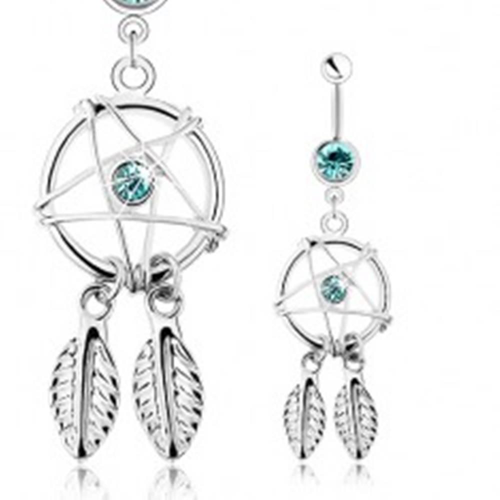 Šperky eshop Piercing z ocele 316L, strieborná farba, lapač snov s pierkami, modré zirkóny