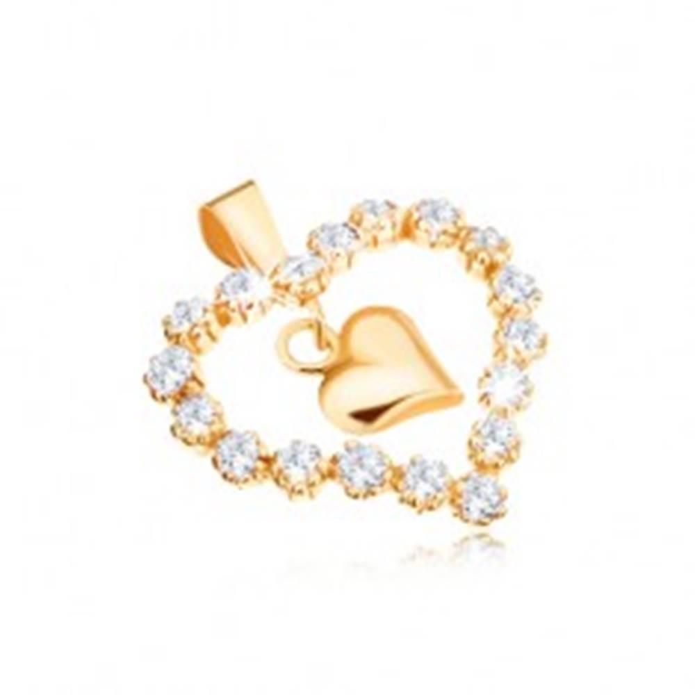 Šperky eshop Prívesok v žltom 9K zlate, zirkónová kontúra srdca, lesklé srdiečko v strede